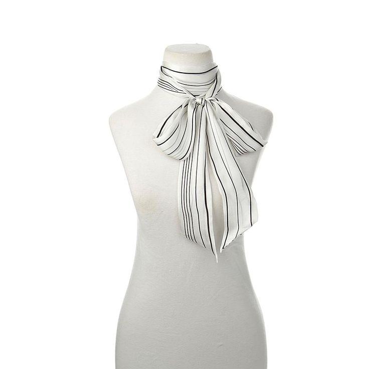 Vince Camuto Pinstripe Silk Skinny Scarf - White