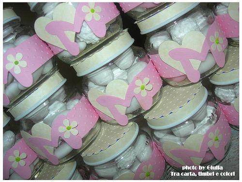 riciclo creativo ... vasetti degli omogeneizzati porta confetti!
