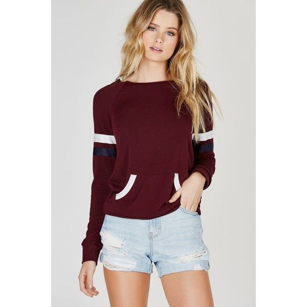 After School Basic Pullover ($29) ❤ liked on Polyvore featuring tops, burgundy, long sleeve pullover, cut off top, denim top, slouchy tops and denim cut offs