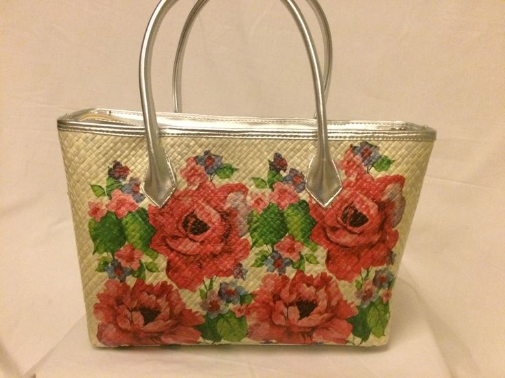 Bag with red peony flowers
