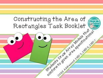 This download includes an 11 page student task booklet in which students determine the possible side lengths of rectangles given their area, construct rectangles using grid paper, and use the area formula.