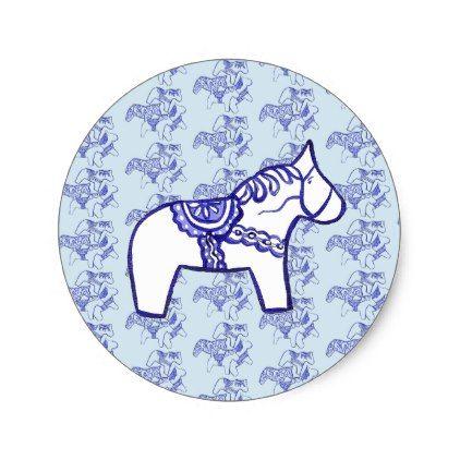 Blue Dala Horse Classic Round Sticker  $5.55  by dalahorse  - cyo customize personalize unique diy idea
