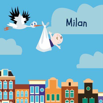 Lief geboortekaartje met ooievaar en jongen vliegend over de Amsterdamse grachten. Tekst is aanpasbaar.