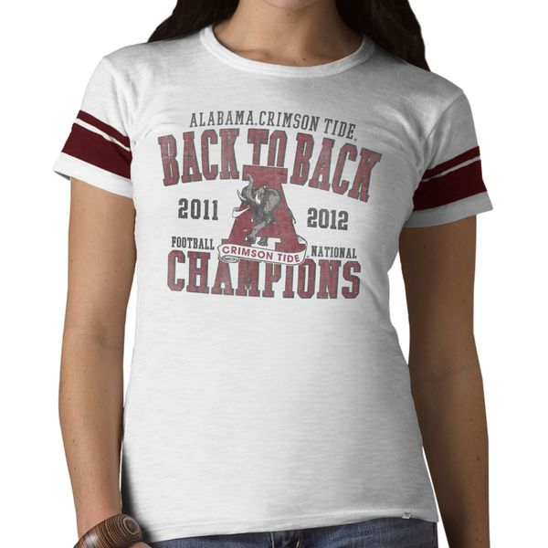'47 Brand Alabama Crimson Tide Women's White Back-to-Back 2012 BCS Football National Champions Game Time T-Shirt - $12.99