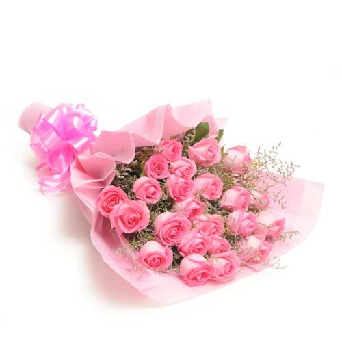 """Gift your beloved a charming piece of love from Ferns N Petals online. Gift this exquisite bouquet made of 25 pink roses with some fillers wrapped in a nice pink paper tied with a pink ribbon . Order this sweet pink bouquet now. "" http://www.fnp.com/flowers/friendship-day-flowers/sweet-pink-exdfnp438/--clI_2-cI_2824-pI_27385-i_26991.html"