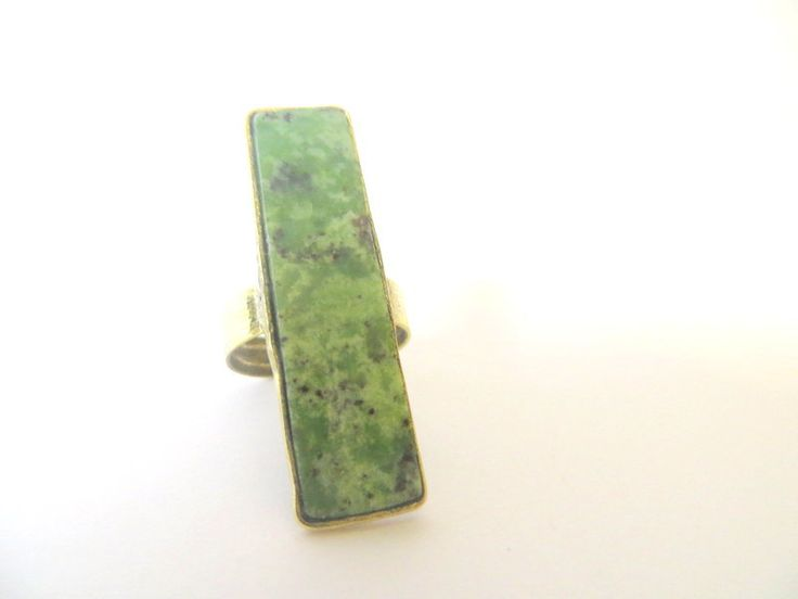 Oblong brass & semi-precious rings by Picossa on Etsy