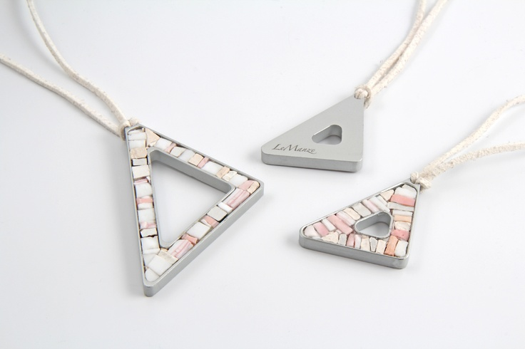 Triangolo bianco | mosaic and aluminum #necklace by LeManzo