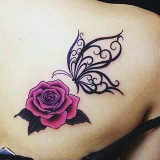 Beautiful 3D Rose and Butterfly Tattoo Designs