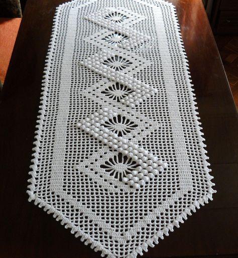 Crochet table runner Lace white table runner Cotton textured | Etsy