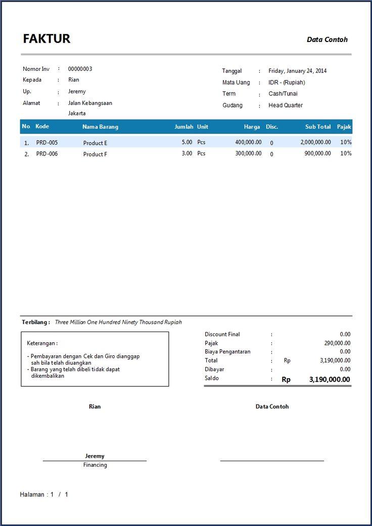 Contoh Faktur Penjualan Software Akuntansi Terbaik Zahir Accounting