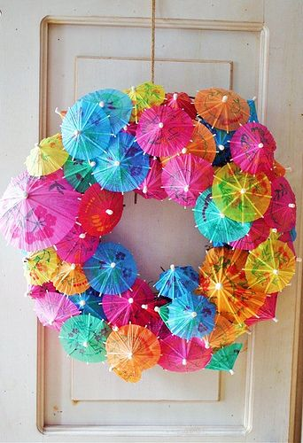 summer wreath - has to hang in a protected place because the dye in those little umbrellas runs really easy