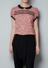 Pink Short Sleeve Dogs Print Chiffon Blouse #SheInside