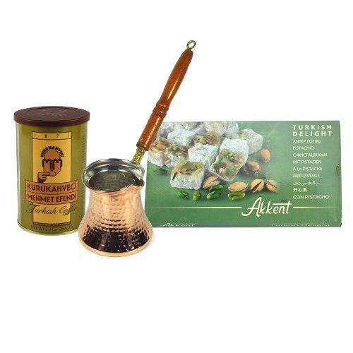 Turkish Coffee with Handmade Brass Turkish Coffee Pot and Turkis Delight by www.grandbazaarshopping.com