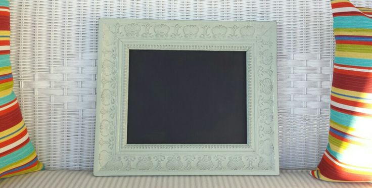Painted and Distressed picture frame turned chalkboard! #kjcreations #paintinglife #loveit #rustic #crafts #farmhousechic #homedecor #handpainted #shabbychic