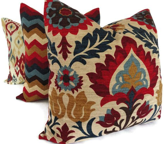 Blue and Red Floral Medallion Decorative Pillow Cover by PopOColor, $45.00
