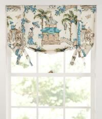 Fanciful Toile Lined Tie-Up Valance_224101