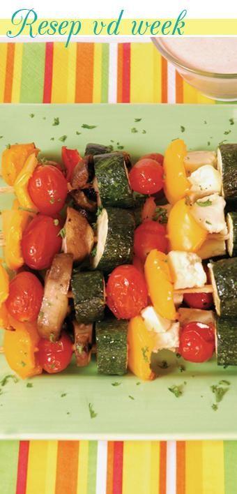 Vegetable skewers with mustard and honey | Groentesosaties met mosterd en heuning #recipe #braai
