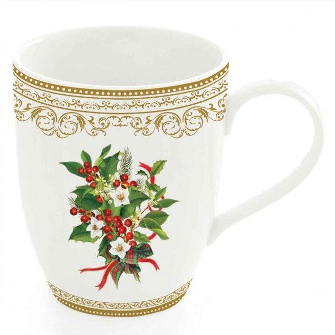 Εορταστική πρόταση για σας που τα Χριστούγεννα έχουν χρώμα. Για τον καφέ ή το τσάι , 2 κούπες από φίνα πορσελάνη, με χρυσή μπορντούρα και διακριτικό σχέδιο με γκι. Χωρητικότητα: 350ml.