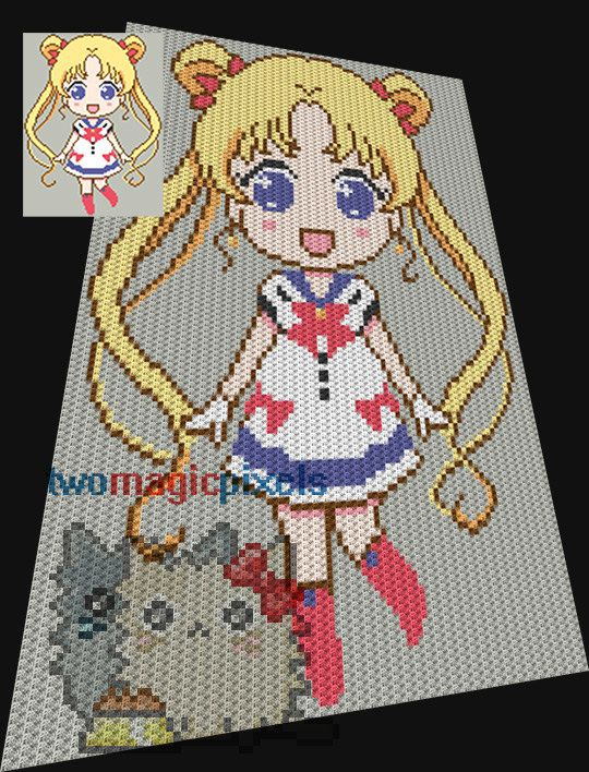Sailor Moon crochet pattern/graphghan, JPG and PDF download/ Crochet Afghan/Graphgan/Graphghan/ Corner to corner/ C2C