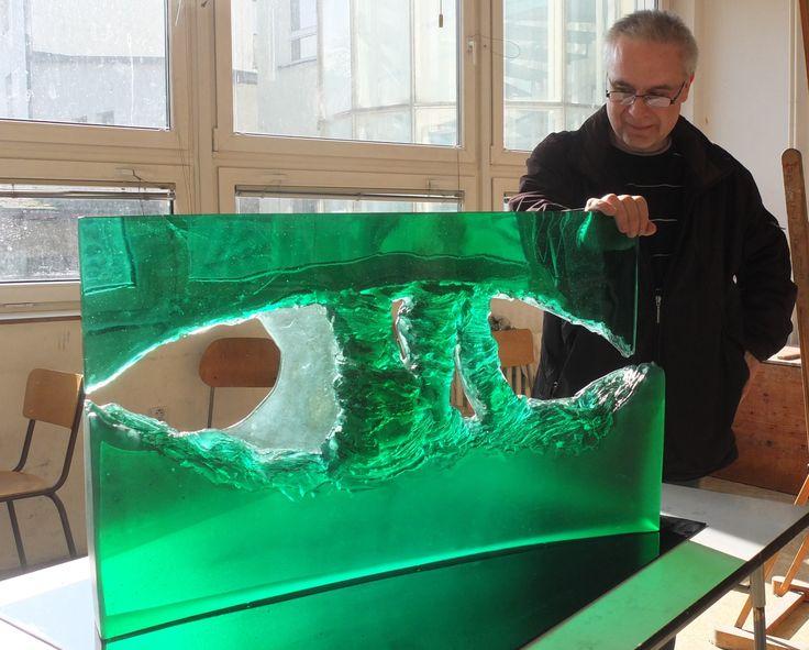 Petr STACHO-FORCES OF NATURE,cast,cutted and polished glass,SÍLY PŘÍRODY,tavené,broušené a leštěné sklo,82x50x9 cm,2013