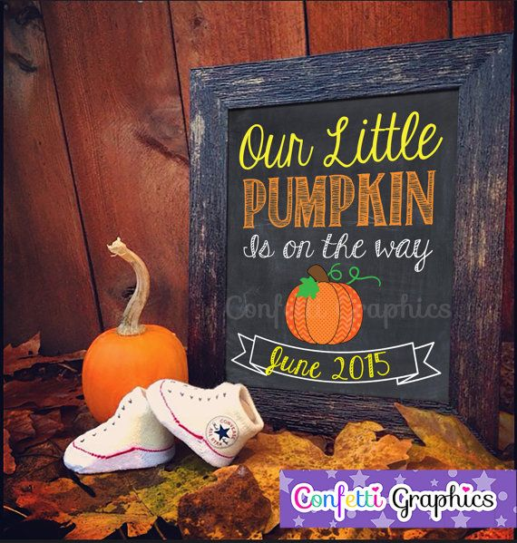 Our Little Pumpkin Is On The Way Fall October by ConfettiGraphics