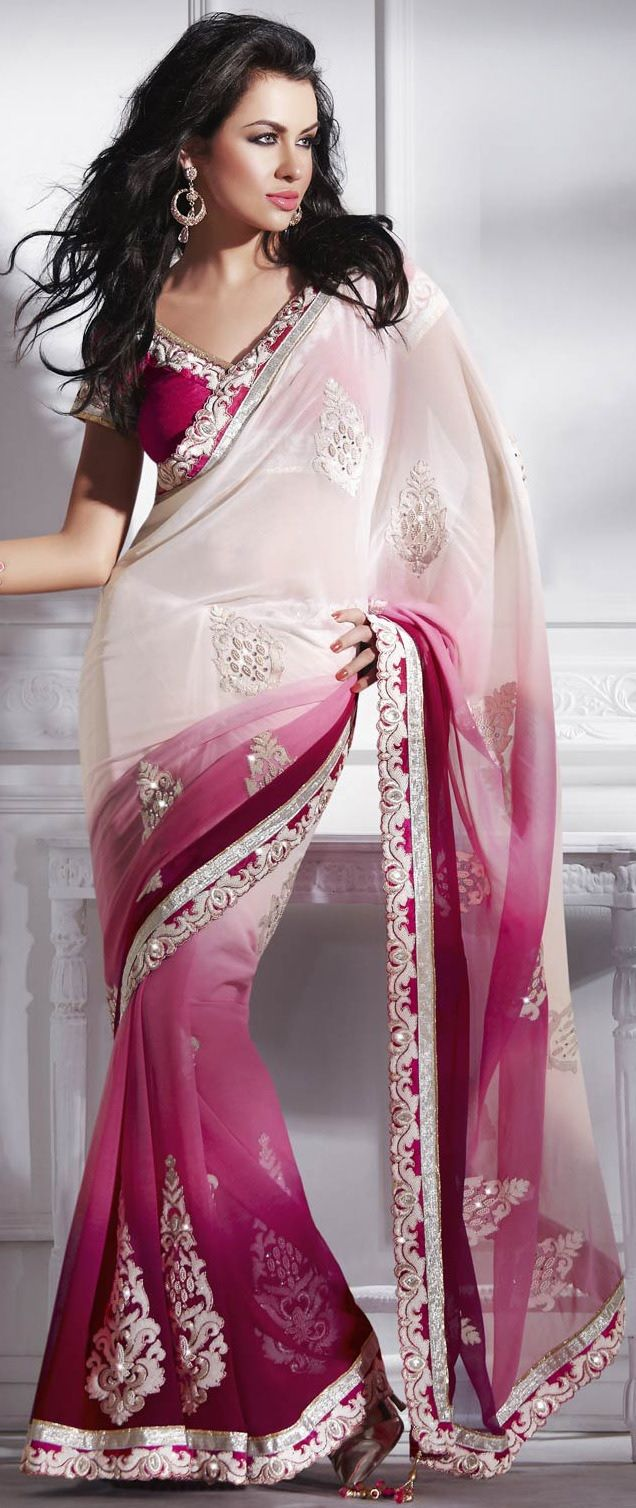 """Saree from UtsavFashion.com.  """"This cream and shaded pink faux chiffon saree is beautifully adorned with resham, sequins, zari, stones, beads, patch patti cut border and work in form of floral motif. Exclusive cut work in border is make the saree look more beautiful.""""  SOLD OUT.  [Was $112 = 92 (saree) + 10 (pink raw silk blouse) + 10 (shipping).]"""