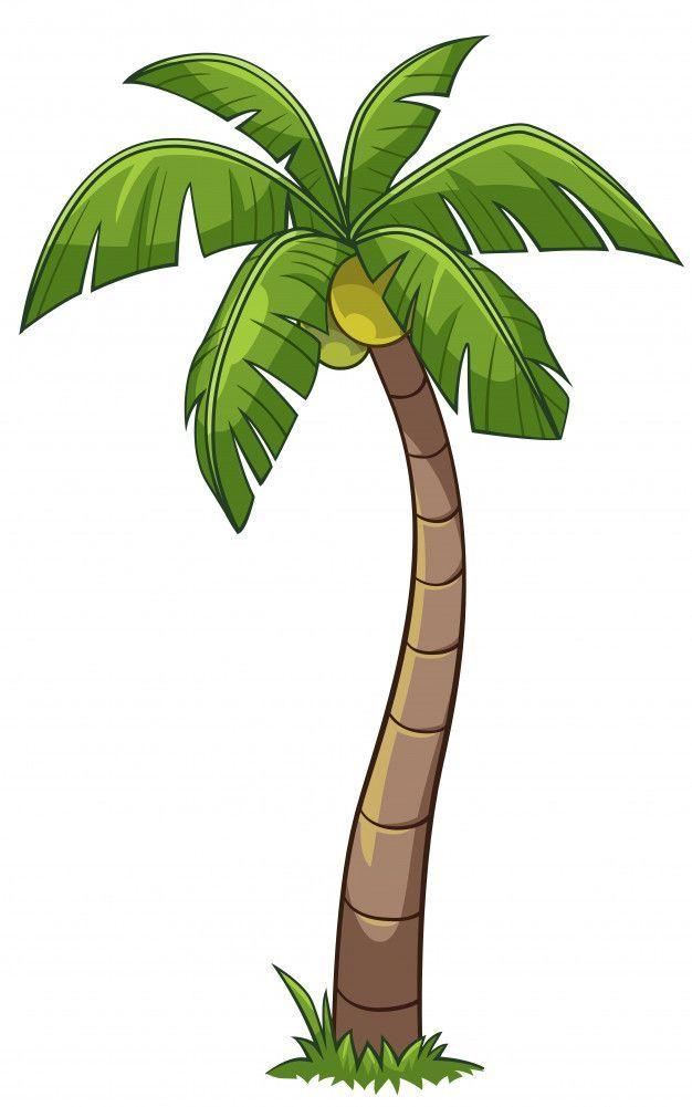 Coconut Tree Cartoon Style Vector In 2020 Coconut Tree