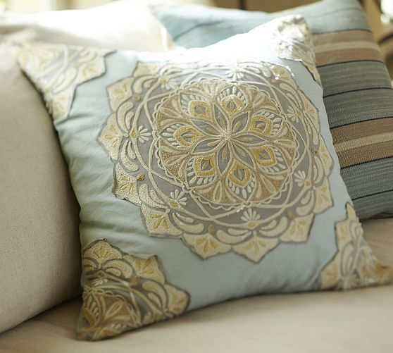 Pottery Barn Decorative Pillow Covers : Cressida Medallion Embroidered Pillow Cover Pottery Barn This is for my Homies (aka Home ...