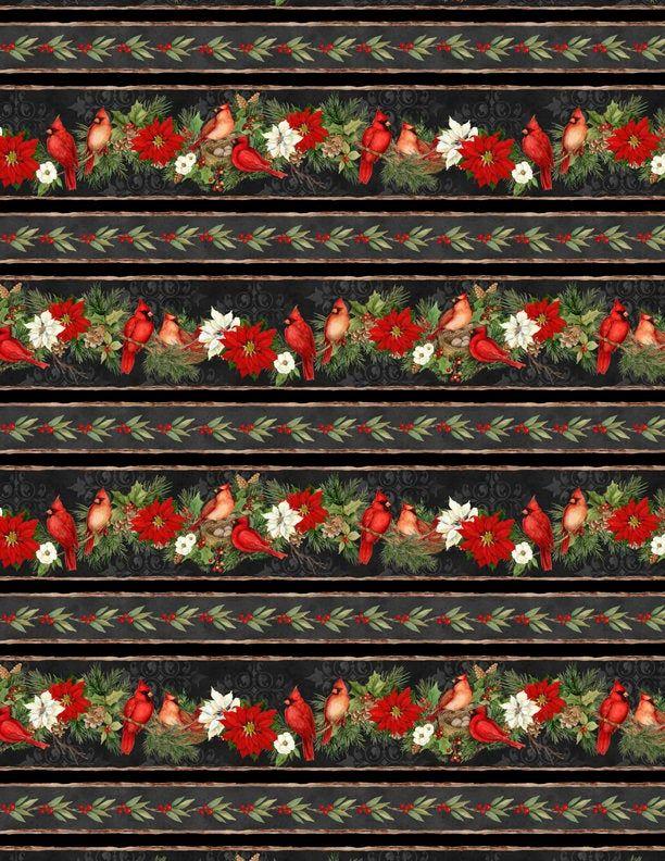 Wilmington Christmas 2020 Cardinal Noel Repeating Border Stripe Fabric Christmas | Etsy in