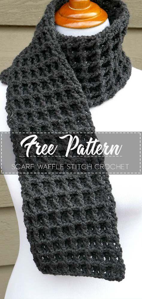 Scarf Waffle Stitch Crochet Free Pattern Crochetpattern