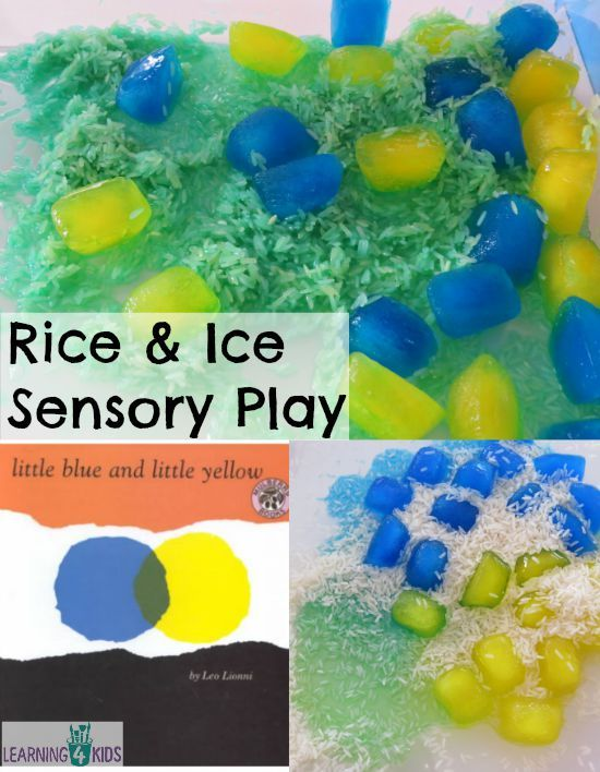 Rice and Ice Sensory Play -learn about rhyming words, absorption and colour mixing.  This activity was inspired by Little Blue and Little Yellow by Leo Lionni