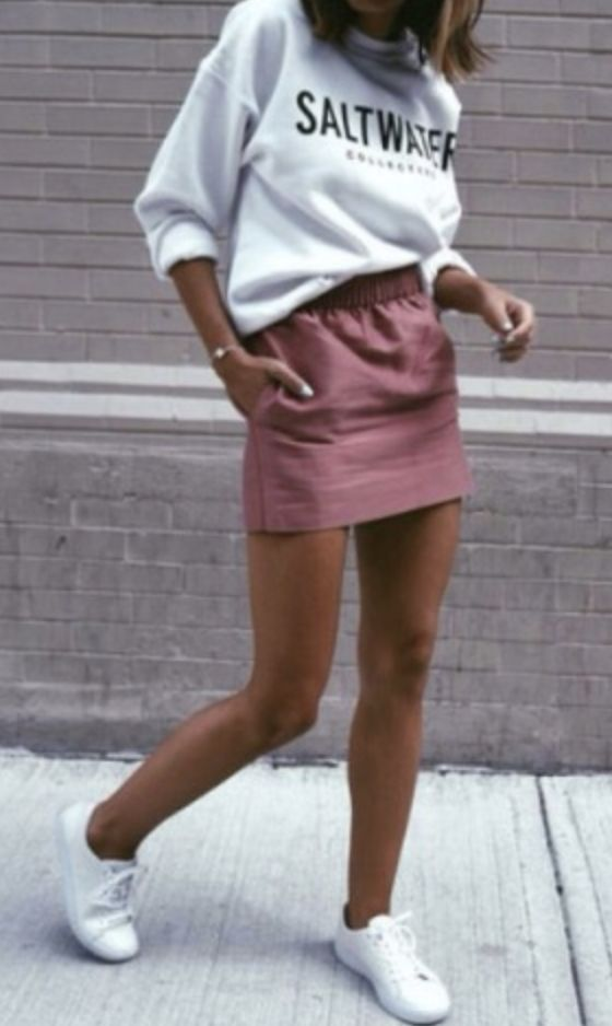 sweatshirts + mini skirts