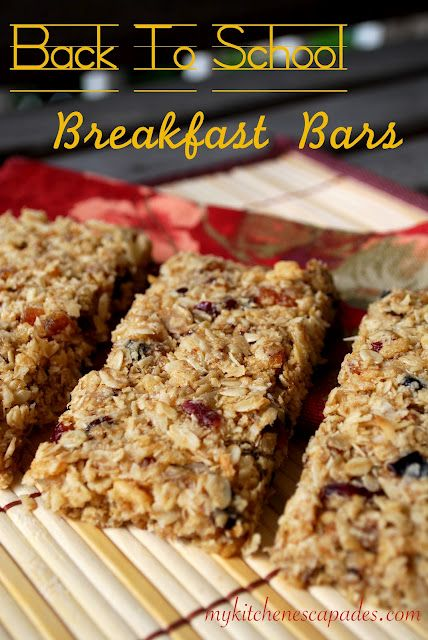 Back To School Breakfast Bars: So quick and easy to make. Perfect to throw in a backpack for your kids as they run out the door !!!