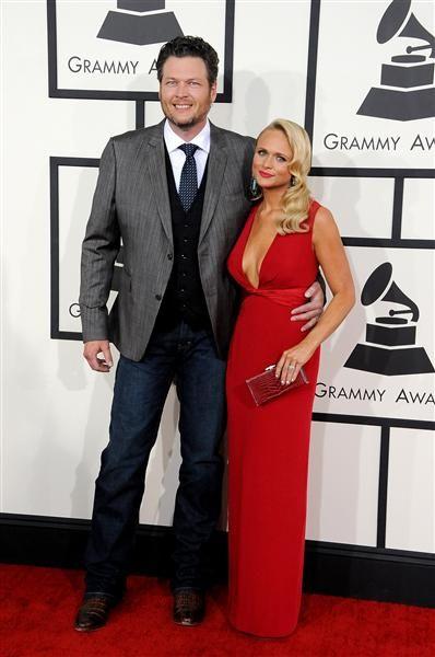 Blake Shelton and Miranda Lambert attend the 56th GRAMMY Awards at Staples Center in Los Angeles on Jan. 26, 2014.