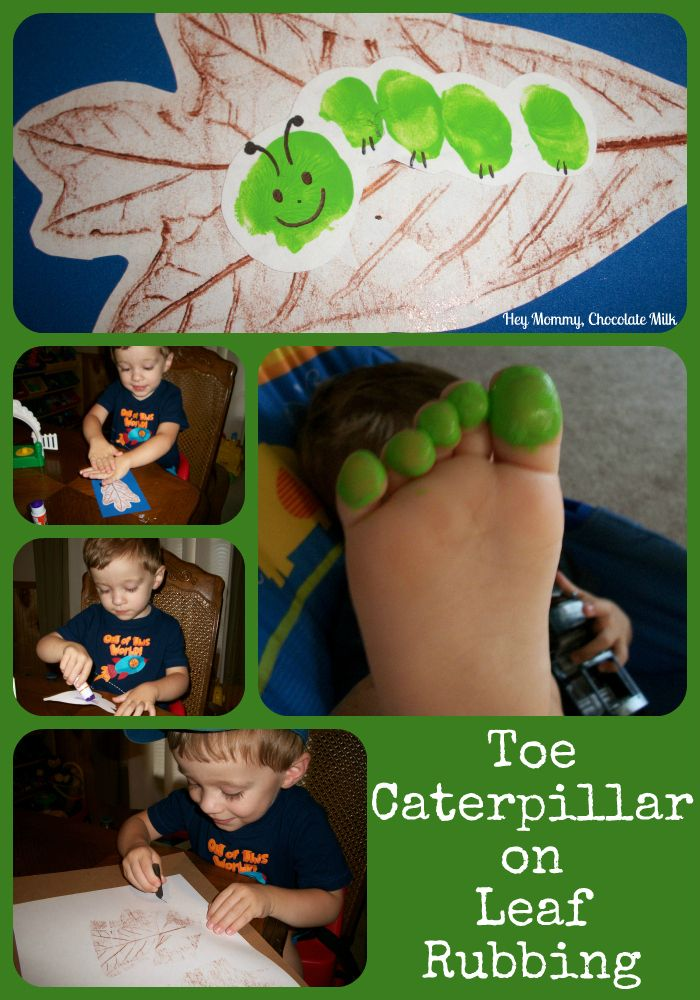 Caterpillar print (from little toes) and leaf rubbing.  Very very cute…