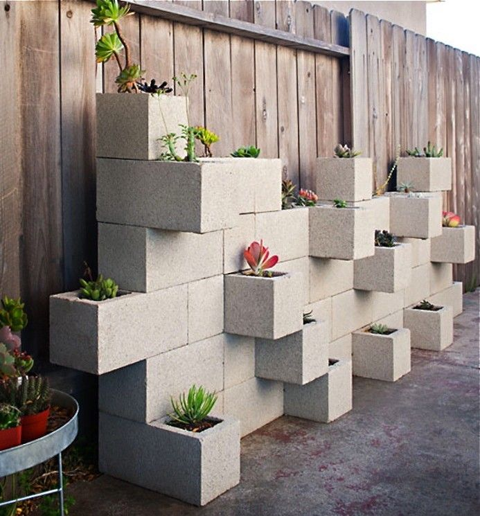 Cinderblock wall planters ; Gardenista