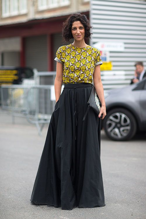 Street Style: Paris Fashion Week Spring 2014 - Yasmin Sewell I like the Maxi skirt teamed up with a Tee.