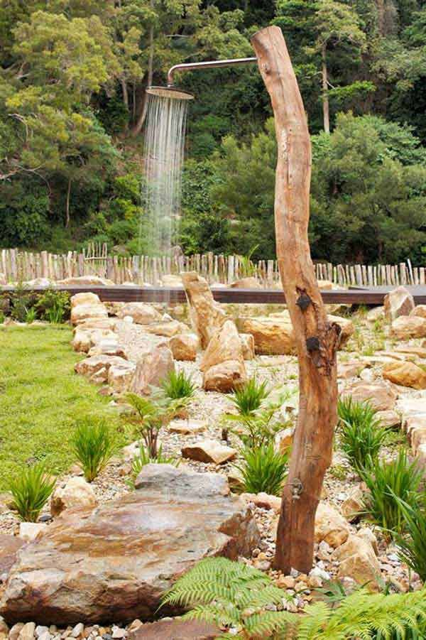 Cool Outdoor Shower With Golden Chrome Pipe Inside Tree Log.