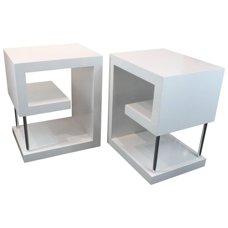 Wonderful Postmodern Greek Key Design White Lacquered Side Tables/Nightstands Images