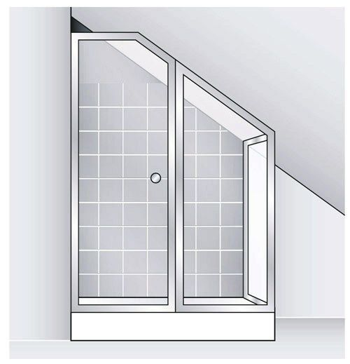 Bespoke Shower Door - Pivot or Swing Doors and Side Panels can have 'L' shaped or angled top profiles to fit under stairs or in roof spaces etc.