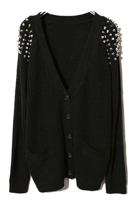 Black Raglan Sleeve Rivet Pockets Cardigan Sweater - Sheinside.com