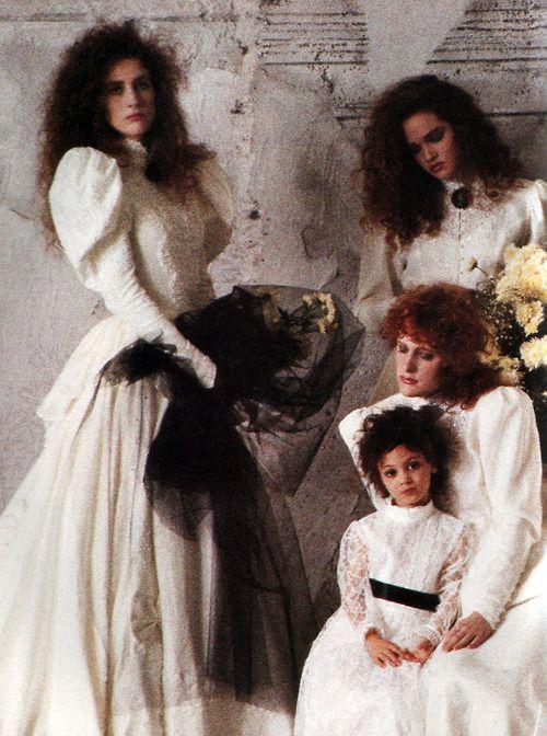 Jessica McClintock/Gunne Sax, American Vogue, March 1988.  (I had big hair just like that)