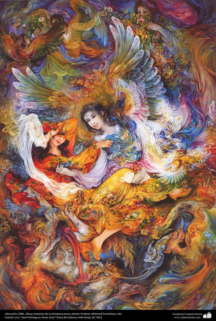 Liberación.1996 , Obras maestras de la miniatura persa; Artista Profesor Mahmud Farshchian, Irán | Galería de Arte Islámico y Fotografía