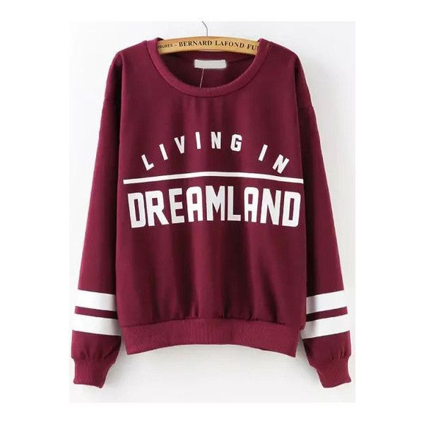 SheIn(sheinside) Sweat-shirt imprimé lettres col rond -rouge bordeaux ($19) ❤ liked on Polyvore featuring tops, hoodies, sweatshirts, sweaters, shirts, rouge bordeaux, purple shirt, purple sweatshirt, burgundy long sleeve shirt and extra long sleeve shirts