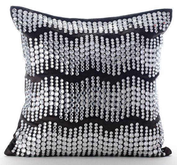 Grey Moonstone - Crystal Embroidered Velvet Pillow