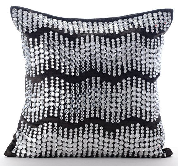 Grey Moonstone - Crystal Embroidered Velvet Pillow