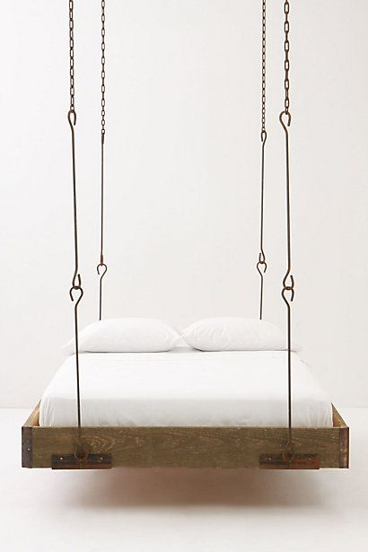 A hanging bed.  Pretty unique and possibly frightening if you try to get out of bed too quickly!