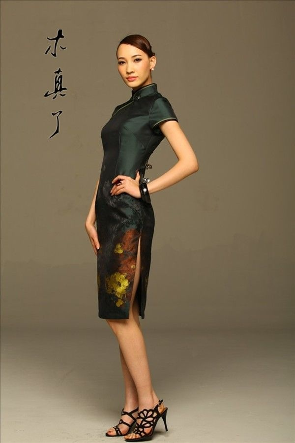 Art. Chinese Style Elegant Painting Cheongsam Dress