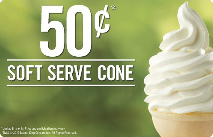 $0.50 Soft Serve Cones at Burger King!