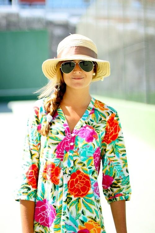 Adorable floral top paired with a cute summer hat! #HoneyMoonWear #Wedding #Watters http://www.pinterest.com/wattersdesigns/